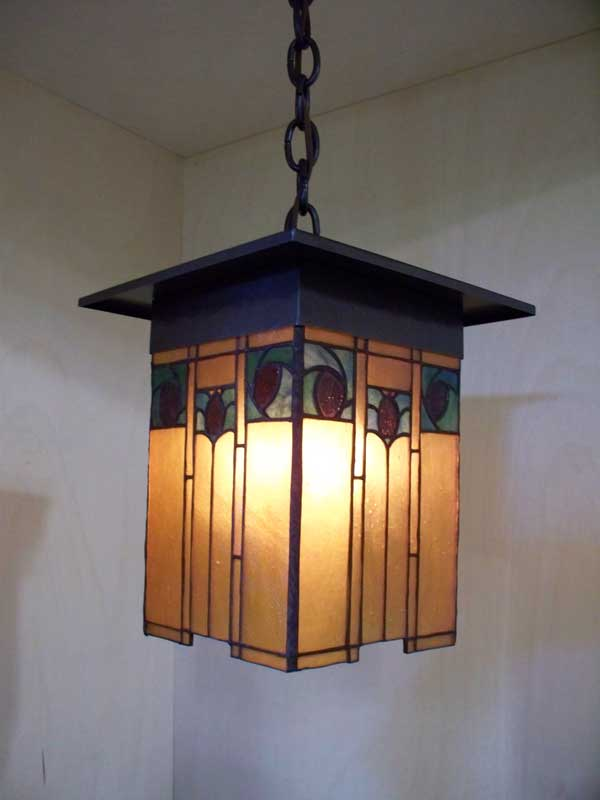 arts and crafts style hand crafted copper and mica round lantern
