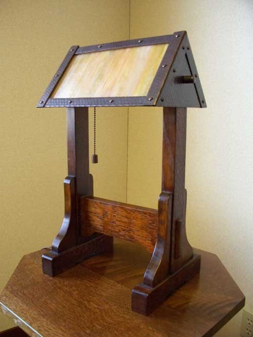 Arts And Crafts Stickley Reion Style Table Lamp Of Stained Quartersawn Oak With Hand Crafted Art