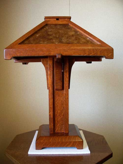 Wonderful Arts And Crafts Style Table Lamp Of Stained Quartersawn Oak With Hand  Crafted Art Glass