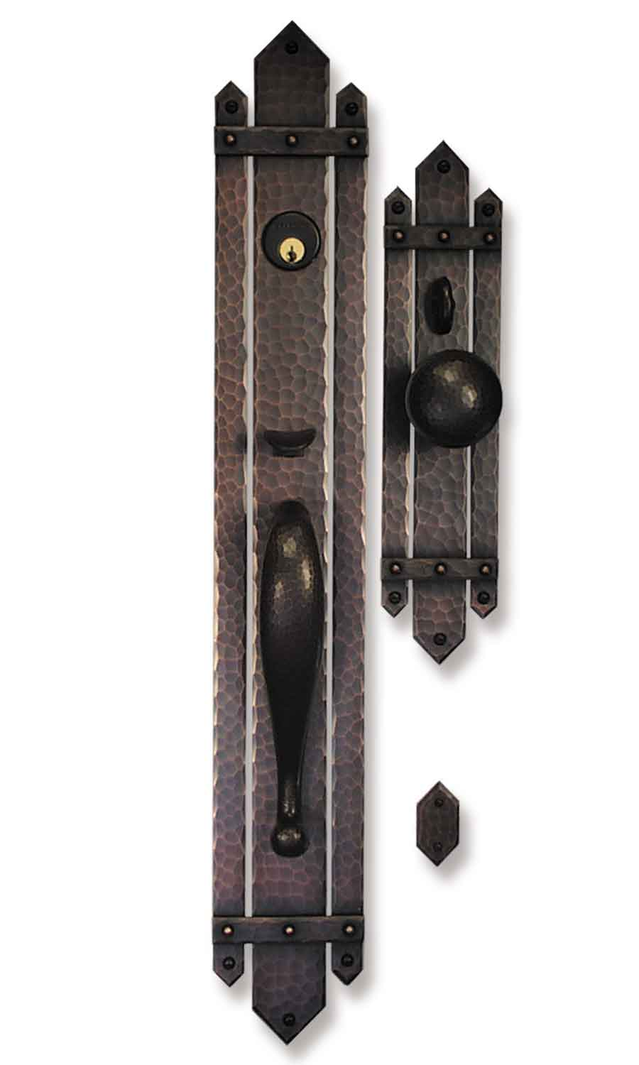 Arts and crafts style hand crafted copper large entry sets for Entry hardware