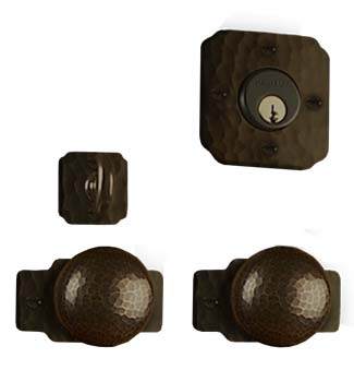 arts and crafts gamble style hand crafted hand hammered copper knob to knob entry set