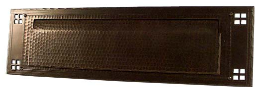 arts and crafts pacific style hand crafted hand hammered exterior horizontal mail slot
