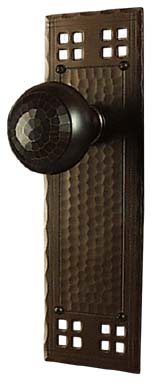 arts and crafts pacific style hand crafted hand hammered copper interior escutcheon door hardware