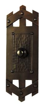 hand crafted arts and crafts style copper door bell button