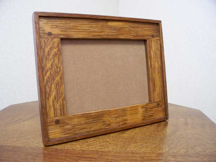 arts and crafts style hand crafted quarter sawn white oak horizontal photo frame