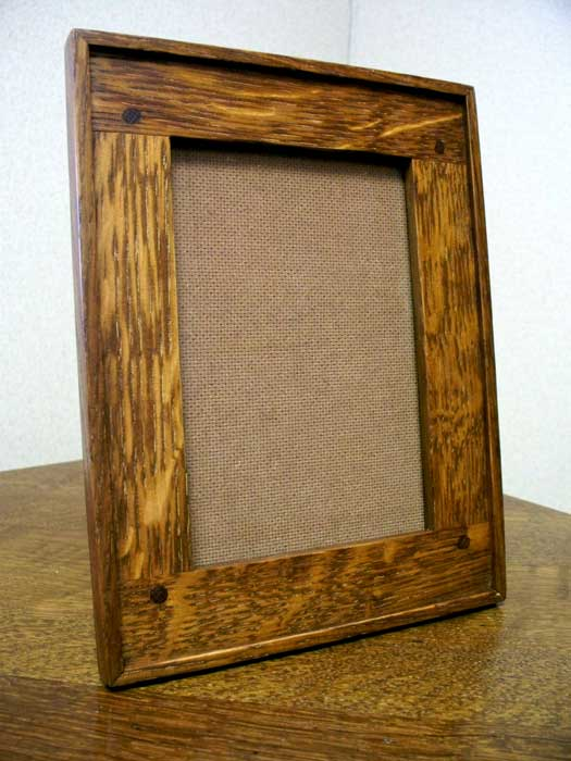 arts and crafts style hand crafted quarter sawn white oak photo frame
