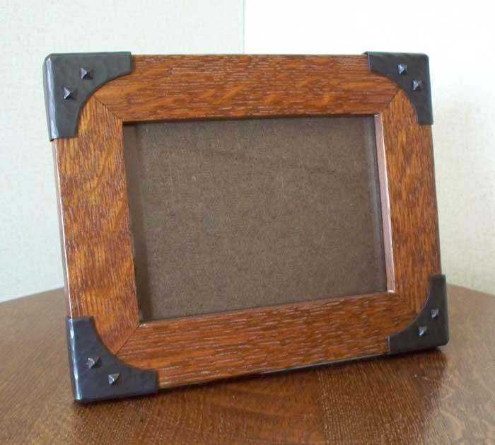 Arts & Crafts Style Hand Crafted Photo Frame in Quarter Sawn White Oak With Copper Brackets