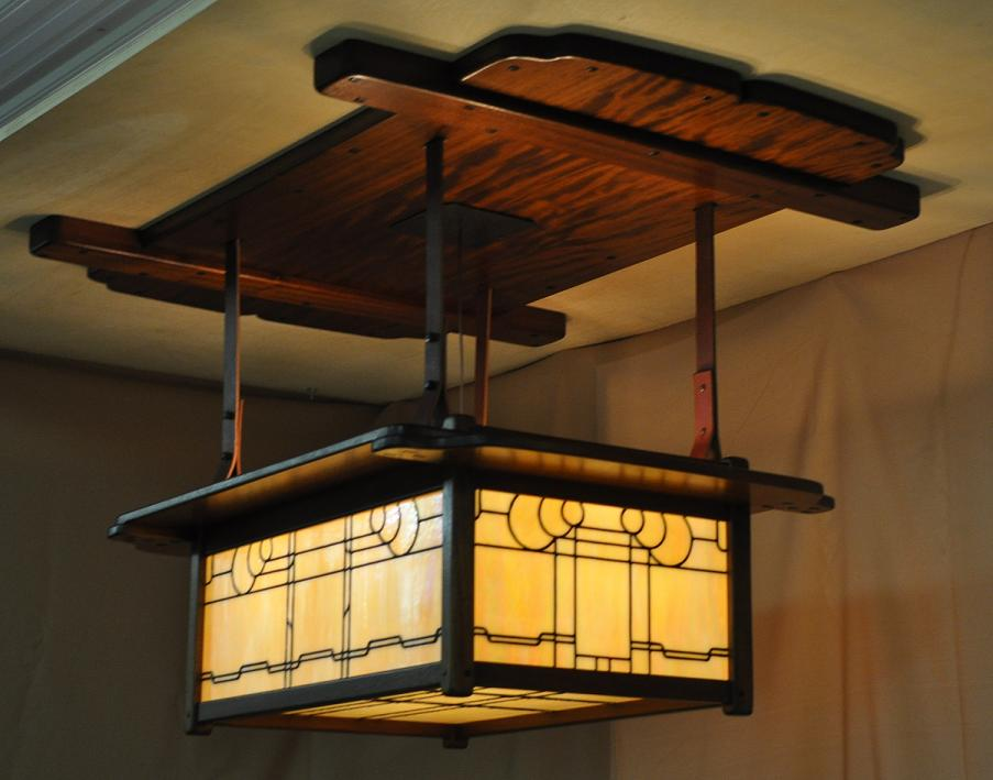 Arts and crafts greene and greene style chandeliers for Craftsmen hardware
