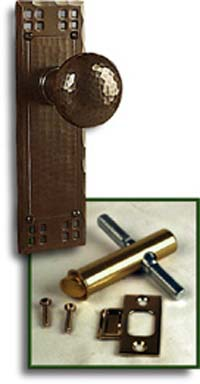 arts and crafts pacific style hand crafted hand hammered screen door escutcheon door hardware